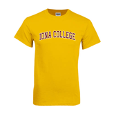 College  Gold T Shirt-Arched Iona College