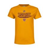 Youth Gold T Shirt-2018 Mens Basketball Champions - Brush
