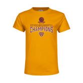 Youth Gold T Shirt-2018 Mens Basketball Champions - Net w/ Basketball