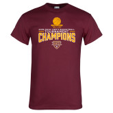 Maroon T Shirt-2018 Mens Basketball Champions - Net w/ Basketball