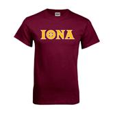 Maroon T Shirt-Iona Wordmark