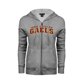 College  Ladies Grey Fleece Full Zip Hoodie-Arched Iona College Gaels