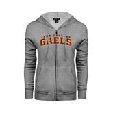 ENZA Ladies Grey Fleece Full Zip Hoodie-Arched Iona College Gaels