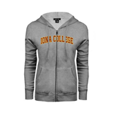 College  Ladies Grey Fleece Full Zip Hoodie-Arched Iona College
