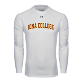College  Under Armour White Long Sleeve Tech Tee-Arched Iona College