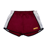 Ladies Maroon/White Team Short-Iona Wordmark