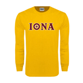Gold Long Sleeve T Shirt-Iona Wordmark