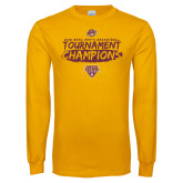 Gold Long Sleeve T Shirt-2018 Mens Basketball Champions - Brush