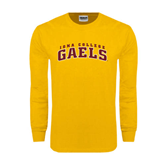 Gold Long Sleeve T Shirt-Arched Iona College Gaels
