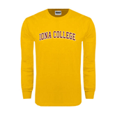 Gold Long Sleeve T Shirt-Arched Iona College