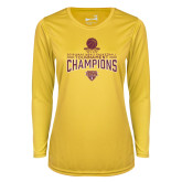 Ladies Syntrel Performance Gold Longsleeve Shirt-2018 Mens Basketball Champions - Net w/ Basketball