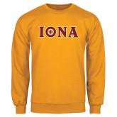 Gold Fleece Crew-Iona Wordmark