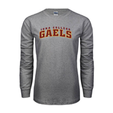Grey Long Sleeve TShirt-Arched Iona College Gaels