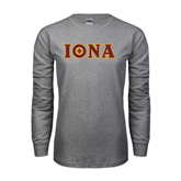 Grey Long Sleeve TShirt-Iona Wordmark