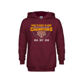 Youth Maroon Fleece Hoodie-Back To Back To Back Basketball Champions