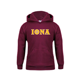 Youth Maroon Fleece Hoodie-Iona Wordmark