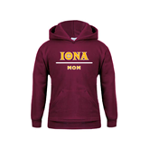 Youth Maroon Fleece Hoodie-Mom