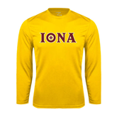 Performance Gold Longsleeve Shirt-Iona Wordmark