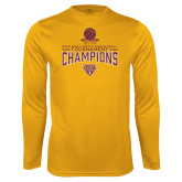 Performance Gold Longsleeve Shirt-2018 Mens Basketball Champions - Net w/ Basketball