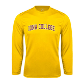 College  Syntrel Performance Gold Longsleeve Shirt-Arched Iona College