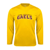 Performance Gold Longsleeve Shirt-Arched Iona College Gaels