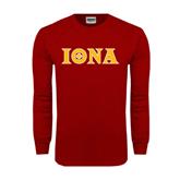 Cardinal Long Sleeve T Shirt-Iona Wordmark