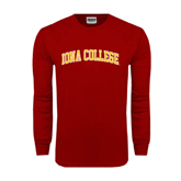 College  Cardinal Long Sleeve T Shirt-Arched Iona College