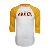 White/Gold Raglan Baseball T-Shirt-Arched Iona College Gaels