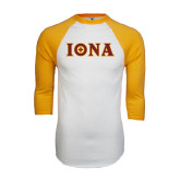 White/Gold Raglan Baseball T-Shirt-Iona Wordmark