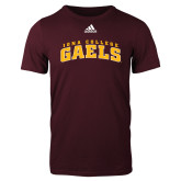 Adidas Maroon Logo T Shirt-Arched Iona College Gaels