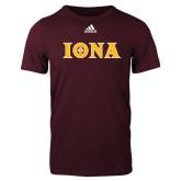 Adidas Maroon Logo T Shirt-Iona Wordmark