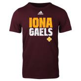Adidas Maroon Logo T Shirt-Adidas Iona Gaels Logo