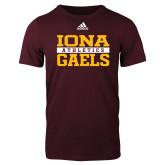 Adidas Maroon Logo T Shirt-Adidas Iona Athletics Logo