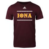 Adidas Maroon Logo T Shirt-Adidas Iona Logo
