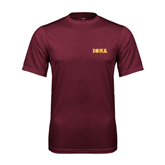 Performance Maroon Tee-Iona Wordmark