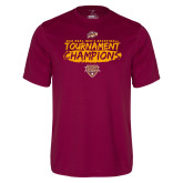Performance Maroon Tee-2018 Mens Basketball Champions - Brush