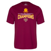 Performance Maroon Tee-2018 Mens Basketball Champions - Net w/ Basketball
