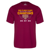 Performance Maroon Tee-Back To Back To Back Basketball Champions