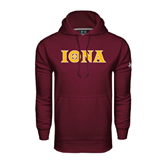 Under Armour Maroon Performance Sweats Team Hoodie-Iona Wordmark