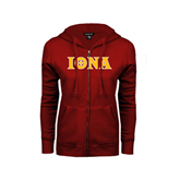 ENZA Ladies Cardinal Fleece Full Zip Hoodie-Iona Wordmark