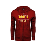 ENZA Ladies Cardinal Fleece Full Zip Hoodie-Golf