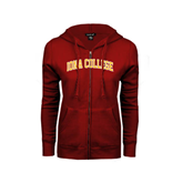 ENZA Ladies Cardinal Fleece Full Zip Hoodie-Arched Iona College