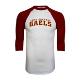 White/Maroon Raglan Baseball T Shirt-Arched Iona College Gaels