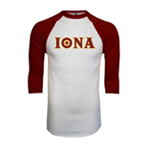 White/Maroon Raglan Baseball T Shirt-Iona Wordmark