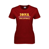 Ladies Cardinal T Shirt-Volleyball