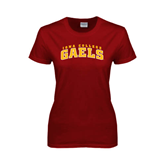 College  Ladies Cardinal T Shirt-Arched Iona College Gaels