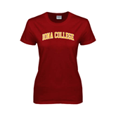 College  Ladies Cardinal T Shirt-Arched Iona College