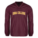 V Neck Maroon Raglan Windshirt-Arched Iona College