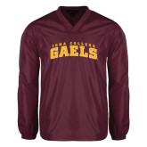 V Neck Maroon Raglan Windshirt-Arched Iona College Gaels