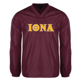 V Neck Maroon Raglan Windshirt-Iona Wordmark